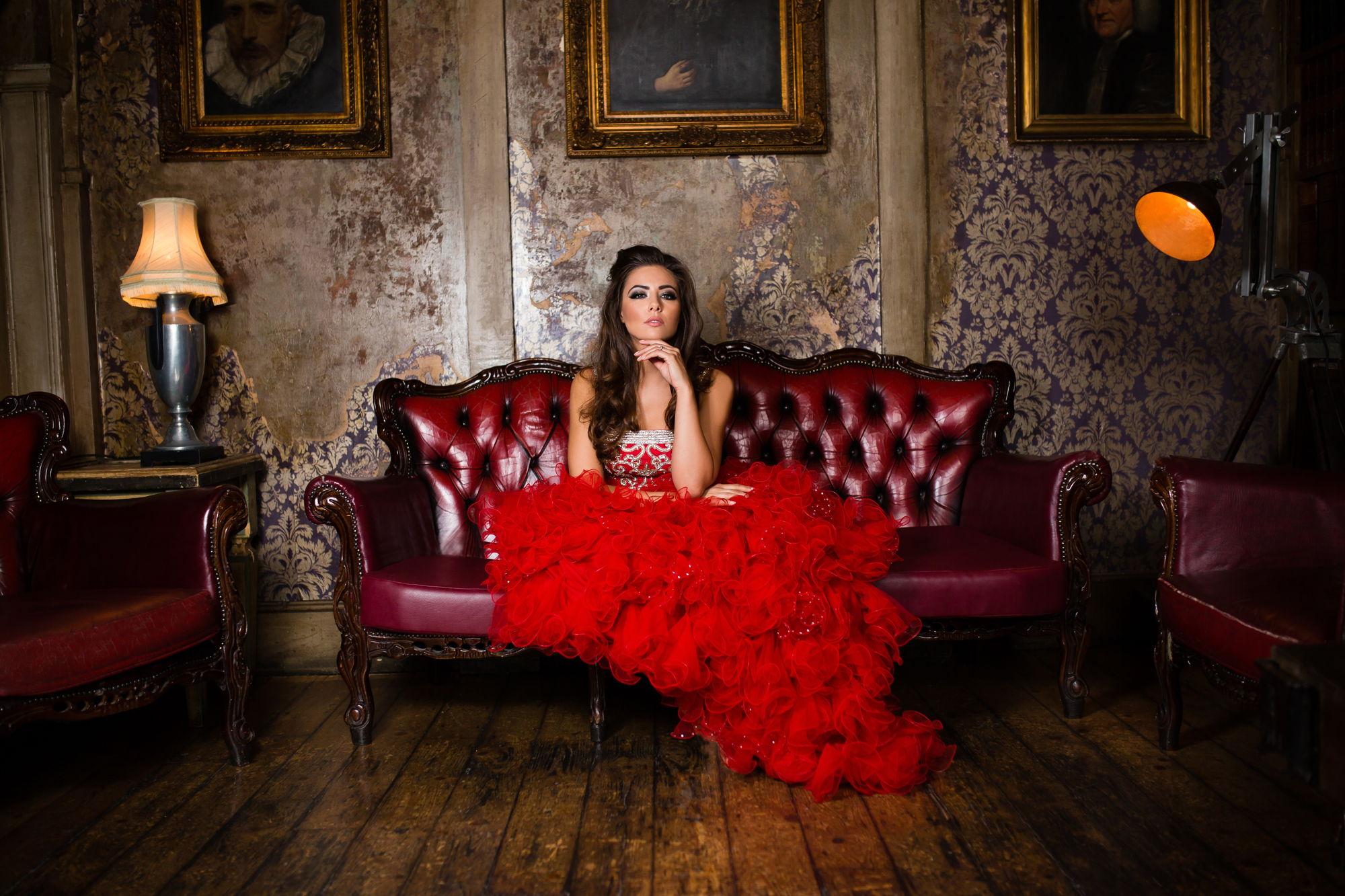 Red Ruffled Fusion Wedding Dress in UK